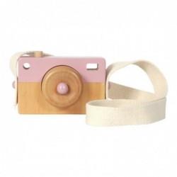 Cámara de fotos de madera rosa