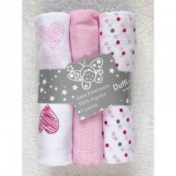 Pack 3 muselinas corazón rosa