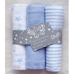 Pack 3 muselinas rayas azul