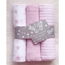 Pack 3 muselinas rayas rosa