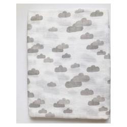 Muselina bambú nubes gris