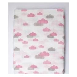 Muselina bambú nubes rosa