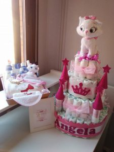 castillos de pañales para babyshower